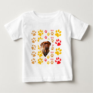 Dogue de Bordeaux Dog Heart Paws Print Tee Shirts