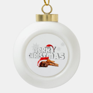 Dogue de Bordeaux dog Santa Hat Merry Christmas Ceramic Ball Ornament