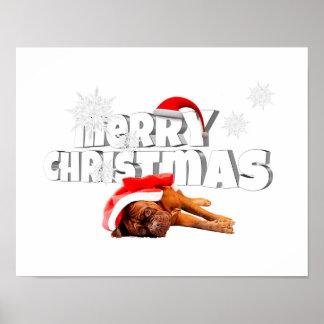 Dogue de Bordeaux dog Santa Hat Merry Christmas Poster