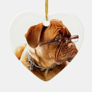 dogue de bordeaux dog wearing glasses ceramic heart ornament