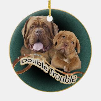 """Dogue De Bordeaux """"Double Trouble"""" Ornament"""