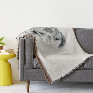 Dogue de Bordeaux French Mastiff Charcoal Sketch Throw Blanket