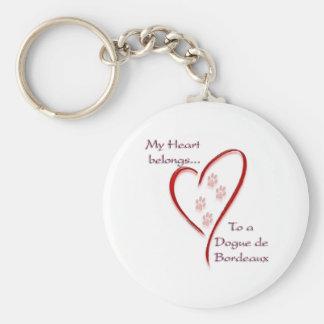 Dogue de Bordeaux Heart Belongs Keychain