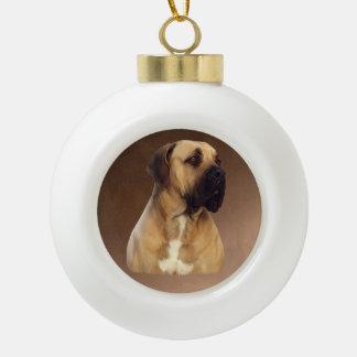 Dogue De Bordeaux Mastiff Dog Portrait Painting Ceramic Ball Ornament