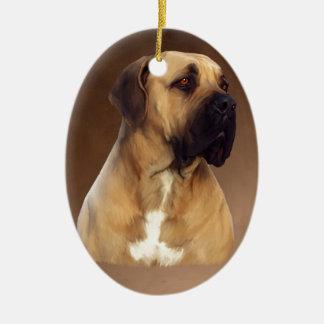 Dogue De Bordeaux Mastiff Dog Portrait Painting Ceramic Oval Ornament