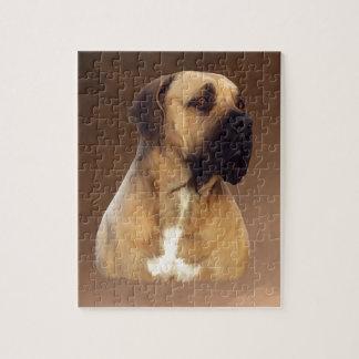 Dogue De Bordeaux Mastiff Dog Portrait Painting Jigsaw Puzzle