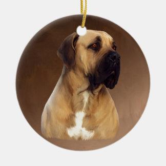 Dogue De Bordeaux Mastiff Dog Portrait Painting Round Ceramic Ornament