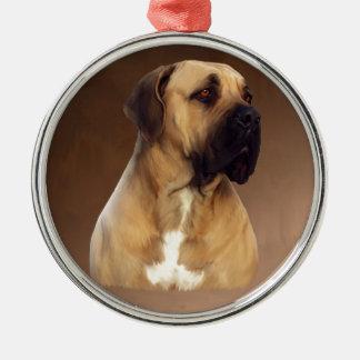 Dogue De Bordeaux Mastiff Dog Portrait Painting Silver-Colored Round Ornament