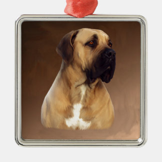 Dogue De Bordeaux Mastiff Dog Portrait Painting Silver-Colored Square Ornament