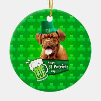 Dogue De Bordeaux Mastiff St. Patrick's Day Round Ceramic Ornament