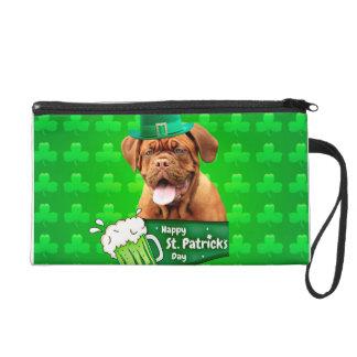 Dogue De Bordeaux Mastiff St. Patrick's Day Wristlet Purse