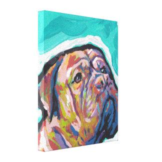 Dogue de Bordeaux Pop Art on Stretched Canvas