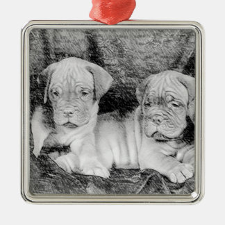 Dogue de bordeaux puppies ornament