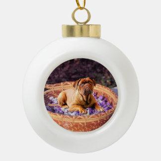 Dogue de Bordeaux Sitting on Basket full of Petals Ceramic Ball Ornament