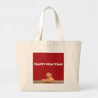 Dogue de Bordeaux wishing Happy New Year Large Tote Bag