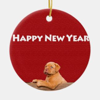 Dogue de Bordeaux wishing Happy New Year Round Ceramic Ornament