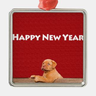 Dogue de Bordeaux wishing Happy New Year Silver-Colored Square Ornament