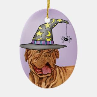 Dogue de Bordeaux Witch Ceramic Oval Ornament