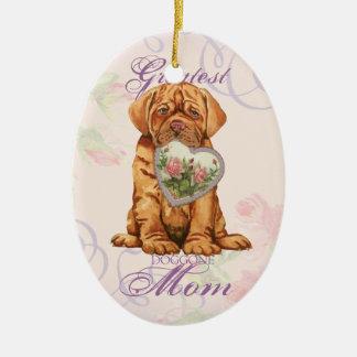 Dogue Heart Mom Ceramic Oval Ornament