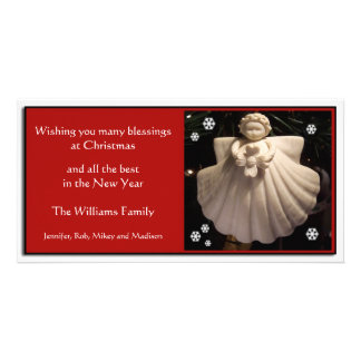 Dogwood Angel Blessings Christmas Card Personalized Photo Card