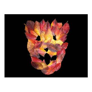 Dogwood Autumn Leaves, Leaf Mask Postcard