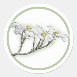 Dogwood Blooms Classic Round Sticker