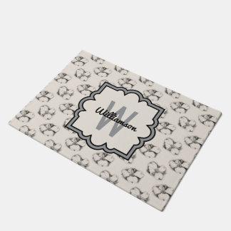 Dogwood Blossom Pattern in Ecru Personalized Doormat