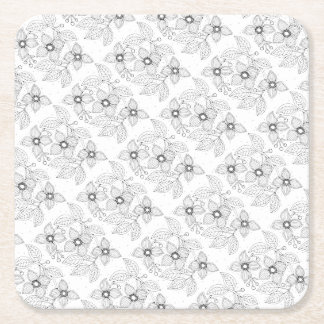 Dogwood Branch Line Art Design Square Paper Coaster