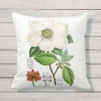 Dogwood Flower Outdoor Throw Pillow 16x16