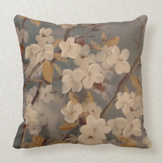 Dogwood Flower Painting Throw Pillow