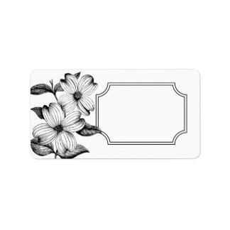 Dogwood Flowers Address Label in B&W - No Text