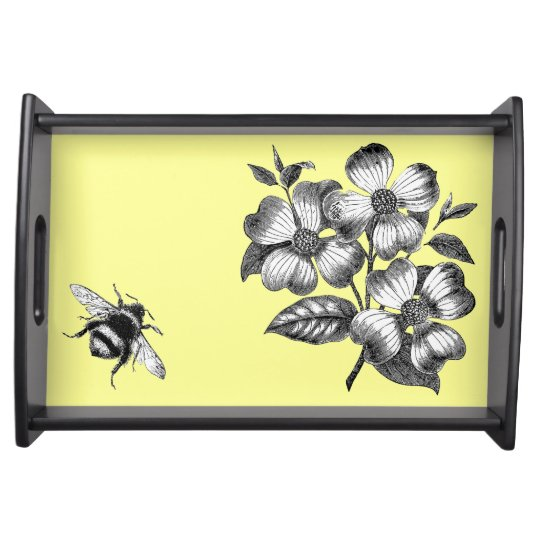 Dogwood Flowers & Bumble Bee vintage art tray Food Tray