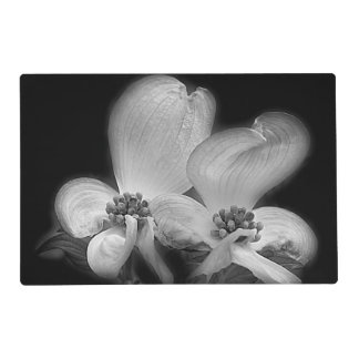 Dogwood Flowers In Black And White Laminated Placemat