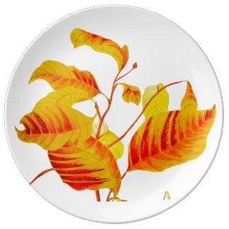 Dogwood Leaves on Decorative Porcelain Plate