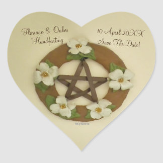 Dogwood Pentacle Handfasting Heart Sticker