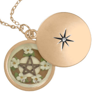 Dogwood Pentacle Wreath Locket Necklace
