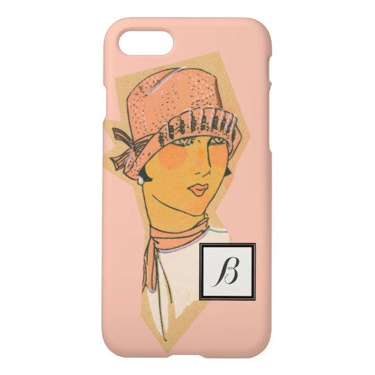 Dogwood Pink Vintage Flapper Monogram iPhone 7 Case