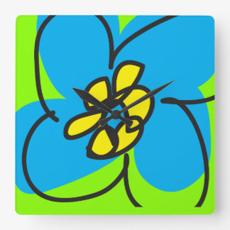 Dogwood Retro Clock in Blue and Green