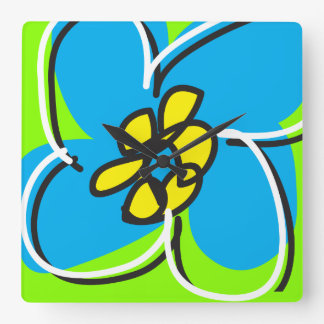 Dogwood Retro Clock in Blue and Green/White
