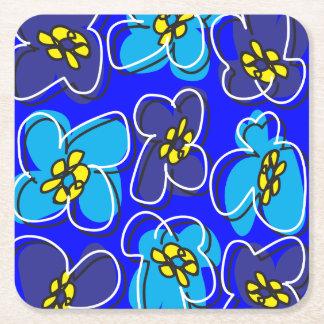 Dogwood Retro Customizable Coaster in Blue/White