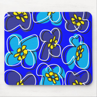 Dogwood Retro Mousepad in Mysterious  Blue/White