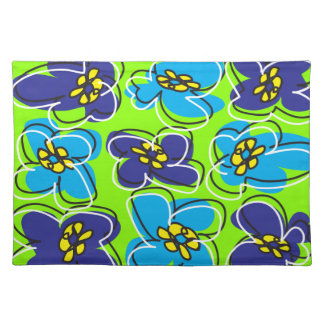 Dogwood Retro Placemat Sketch in Blue and Green