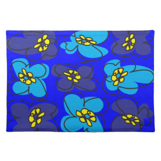 Dogwood Retro Placemat Sketch in Mysterious Blue