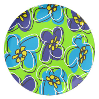 Dogwood Retro Plate in Bright Spring Green/White