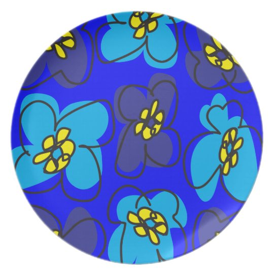 Dogwood Retro Plate in Mysterious  Deep Blue