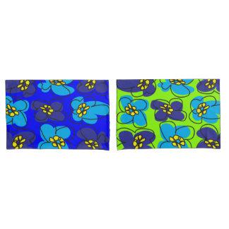 Dogwood Retro Reversible Pillow Cover Blue Green Pillowcase
