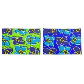 Dogwood Retro Reversible Pillow Cover Blue Green/W Pillowcase