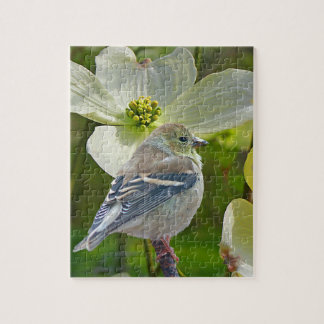 """Dogwood Visitor"" Finch Songbird Jigsaw Puzzle"