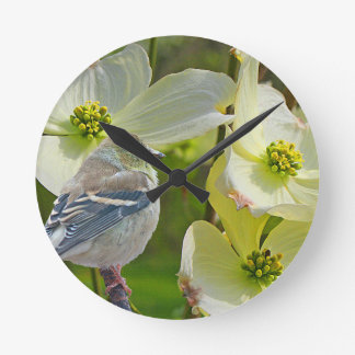 """Dogwood Visitor"" Finch Songbird Round Clock"