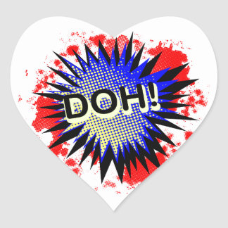 Doh Comic Exclamation Heart Sticker